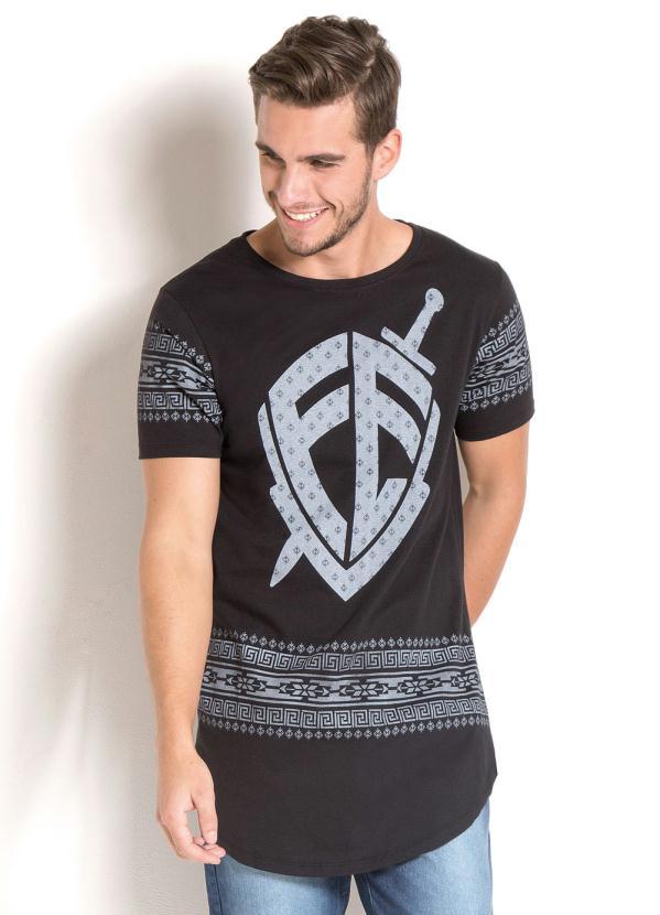Queima de Estoque - Camiseta Longline Preta com Estampa Fé e Étnica ... be62b096d2ad7
