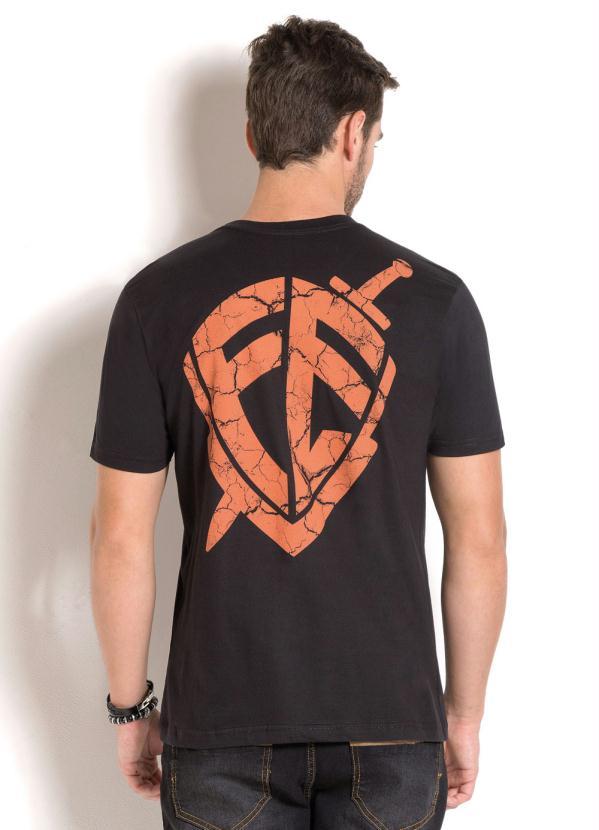 Queima de Estoque - Camiseta Preta com Estampa Frontal e Costas ... 0db11292ce
