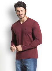 Camiseta Básica Bordô com Bordado Frontal