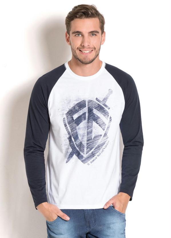Queima de Estoque - Camiseta Branca e Marinho em Manga Raglan ... 152dbdc047336