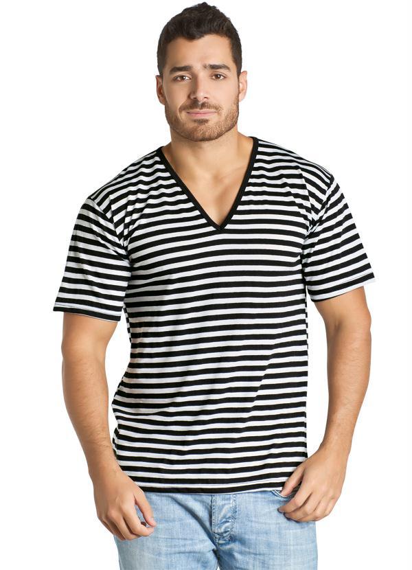 ba53993c42 Queima estoque - Camiseta Listrada com Gola em V Preto e Branco ...