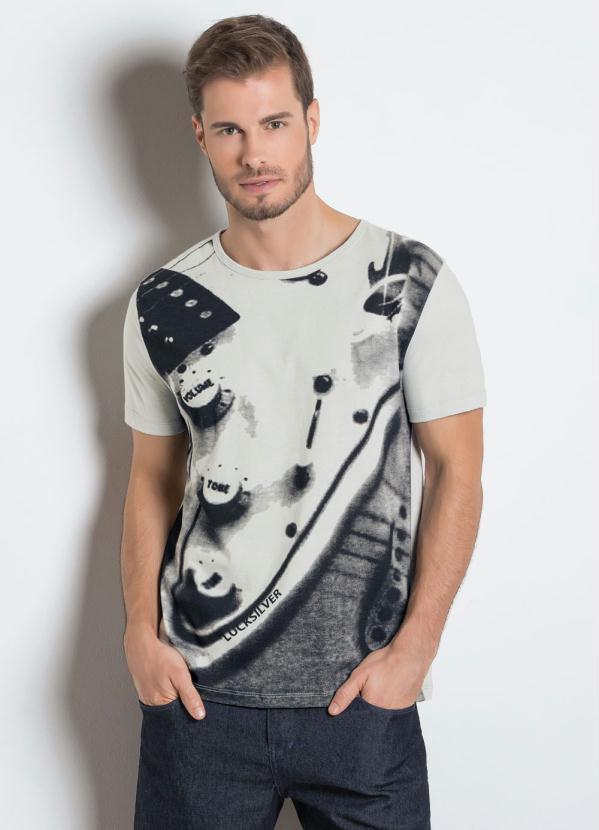 Suficiente Camiseta Cinza com Estampa Frontal - Moda Pop XC64