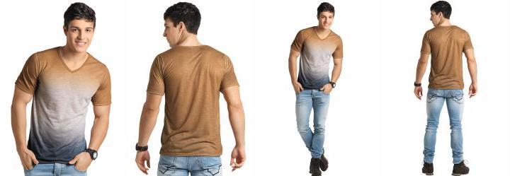 b1013c69183fe 0.0 Camiseta Efeito Tie-Dye Dourada e Cinza