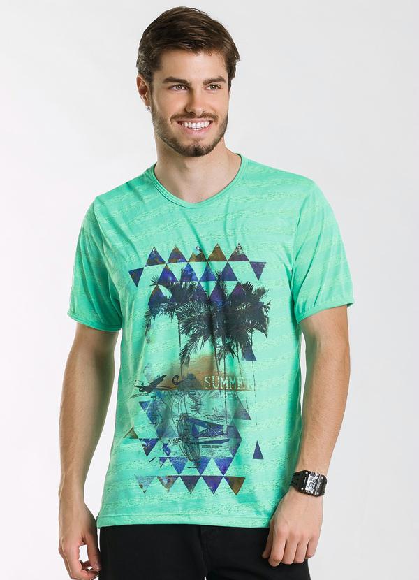Actual - Camiseta Masculina Verde Estampada - Actual 9e78acf527df7