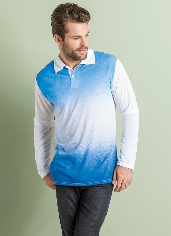 02654d0e66 Queima estoque - Camiseta Polo Manga Longa Azul Degradê Frontal ...
