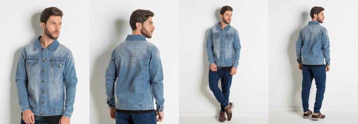 4075cf1eb 0.5197501182556152 Jaqueta Jeans com Capuz em Moletom Actual