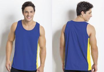 Queima Estoque. 0.0 Regata Azul Royal com Recorte em Amarelo d9dbd108f0a
