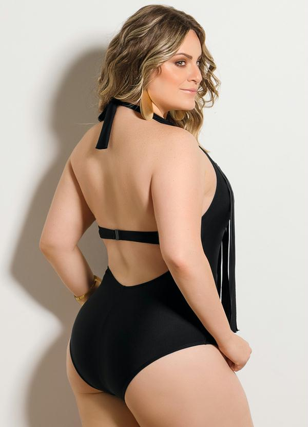 8687340be Quintess - Maiô Franjas Preto Plus Size - Quintess