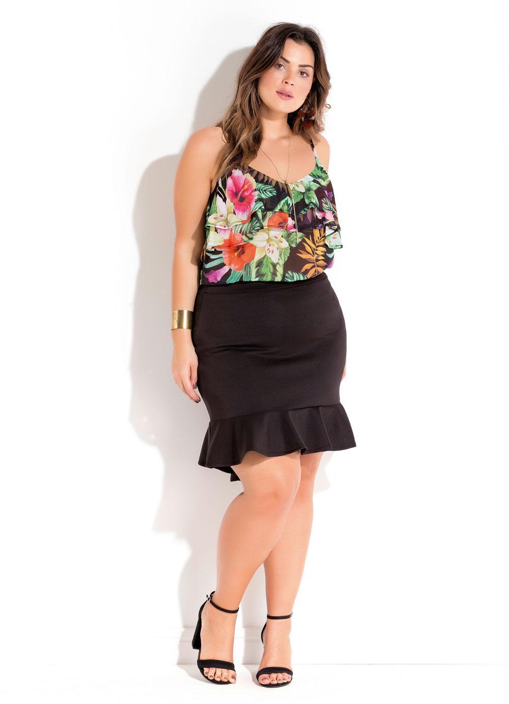 16ce15d709 Blusa de Alças Floral com Babado Plus Size - Quintess Outlet