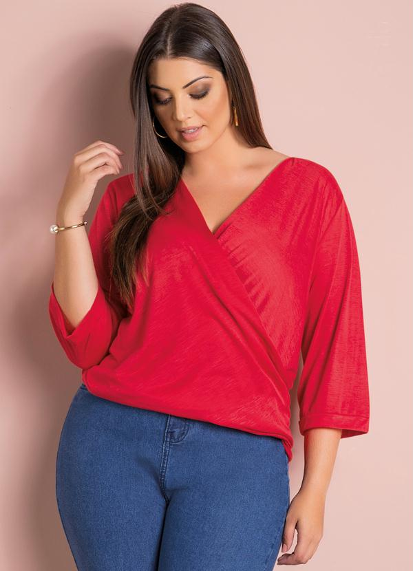 634f92cebf Quintess - Blusa Decote V Transpassado Vermelha Plus Size - Quintess