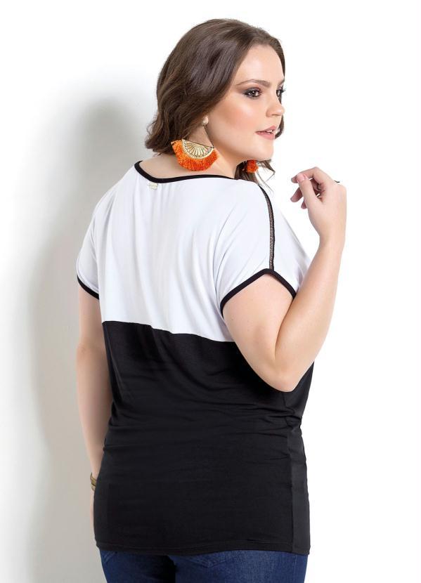 8b5a119a3 Quintess Outlet - Blusa Bicolor Preta e Branca Quintess Plus Size ...