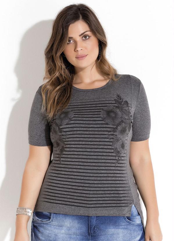5340d9ca655 Quintess Outlet - T-Shirt Assimétrica Mescla Plus Size Quintess ...