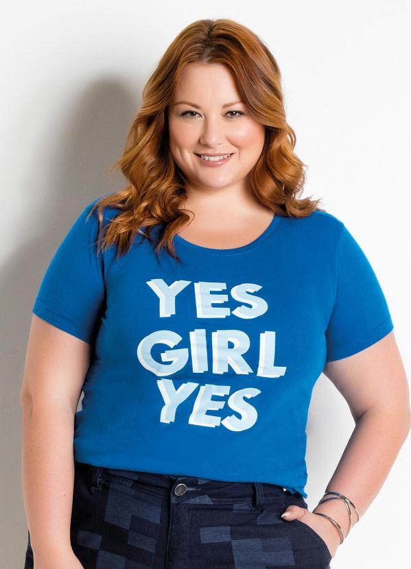 7b8bd1bd3f Marguerite - T-Shirt com Estampa Frontal Royal Plus Size - Marguerite