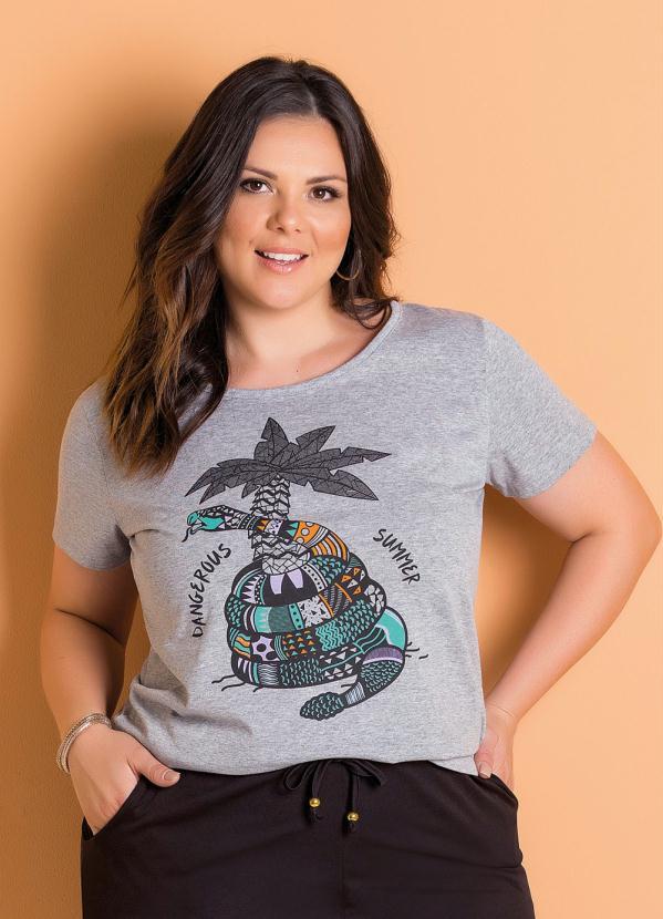 d3ba3e9f79 Marguerite - T-Shirt Mescla Plus Size com Estampa Marguerite ...