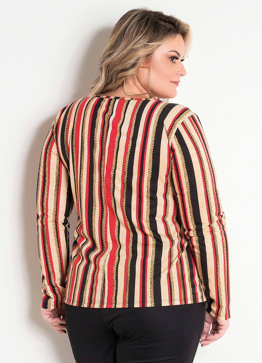 1e7881efd Blusa com Fivela Plus Size Listrada - Marguerite