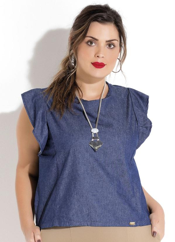 11f2ffe0f0 Quintess outlet - Blusa Jeans Babado na Manga Plus Size Quintess ...
