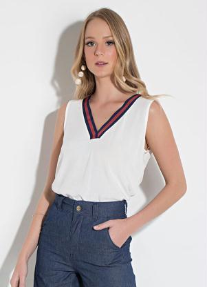 22d360022 produto Quintess - Blusa Quintess Off White Decote V com Fita