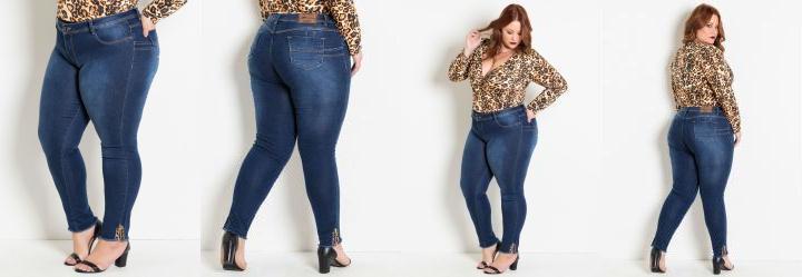 89f3f66ad 1.0952305793762207 Calça Jeans Plus Size Cigarrete com Detalhe Onça