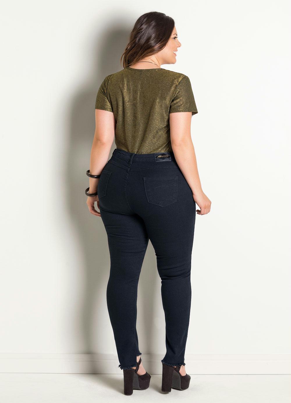 Calça Jeans Sawary Modelo Up Plus Size Preta - Posthaus