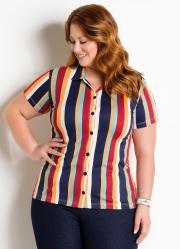 Camisa com Botões Plus Size Listrada