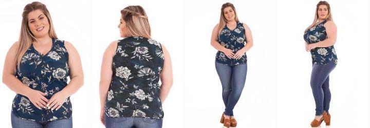 Camisa sem Manga Jeans Médio Rovitex Plus