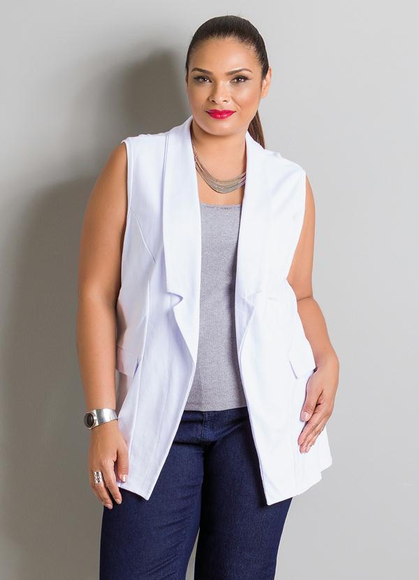 Colete Alongado Branco Plus Size - Marguerite 48b0d4aceb2