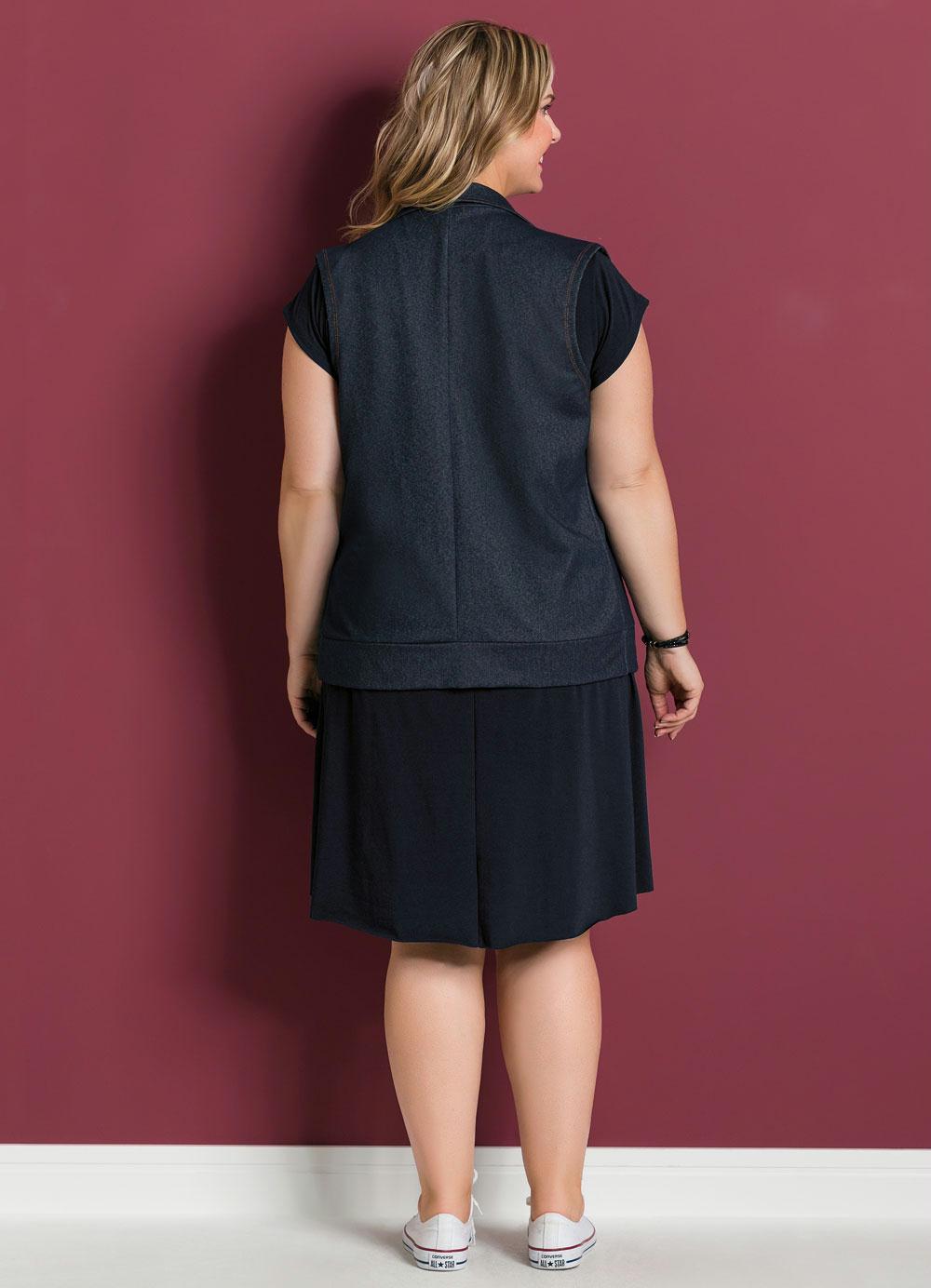 91a73229c188c Colete em Cotton Jeans Azul Marguerite Plus Size - Marguerite