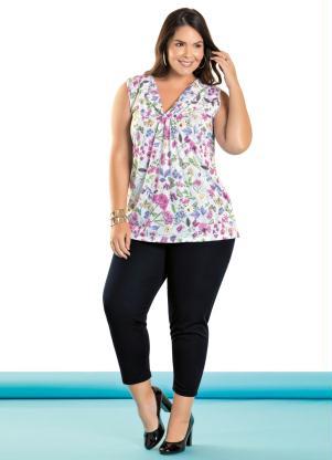 93d7a0c28302 Marguerite - Conjunto Blusa e Calça Capri Plus Size Floral