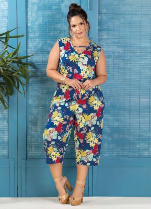 3e516858b Macacão Pantacourt Marguerite Plus Size Floral