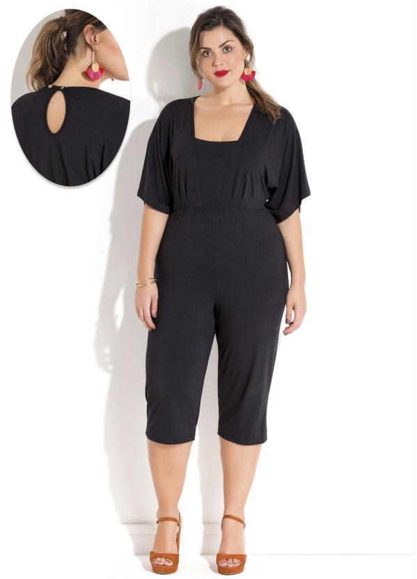 83215be53 Quintess outlet - Macacão Pantacourt Plus Size Preto Quintess ...
