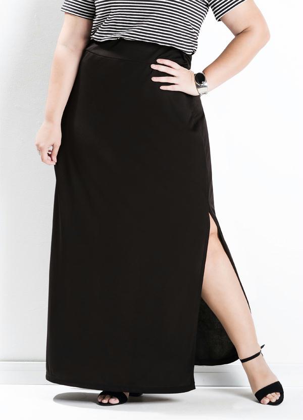 416d72a0d4 Saia Longa com Fenda Preta Plus Size - Marguerite