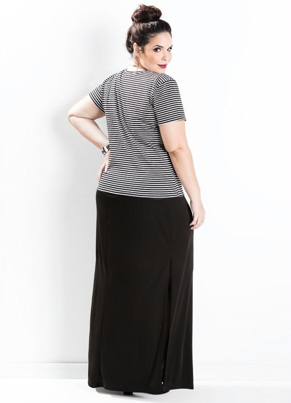 1e597c927 Saia Longa com Fenda Preta Plus Size - Marguerite
