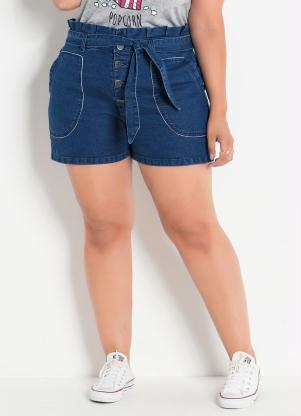 42bbe47e3 produto Short Jeans Clochard Plus Size com Amarração