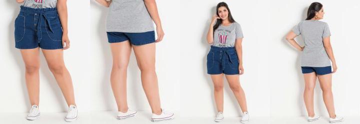 bc91b252c4b14 0.0 Short Jeans Clochard Plus Size com Amarração