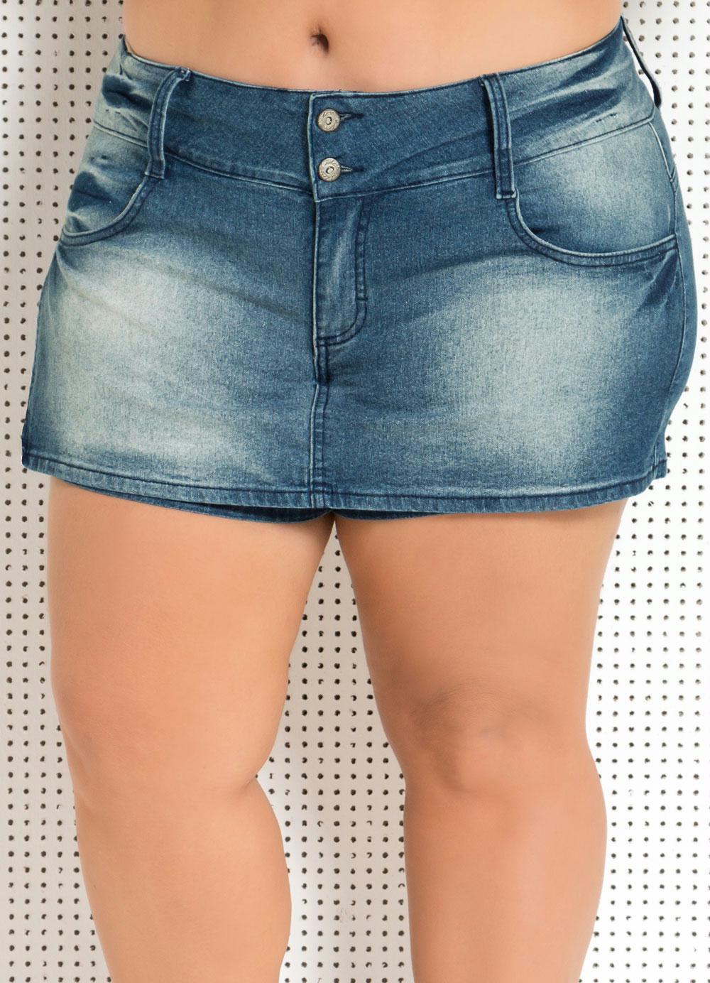 Short Saia Jeans Plus Size - Posthaus