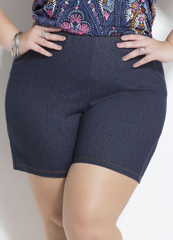 918c3ca7e2e432 Marguerite - Shorts Azul Cintura Alta Plus Size Marguerite