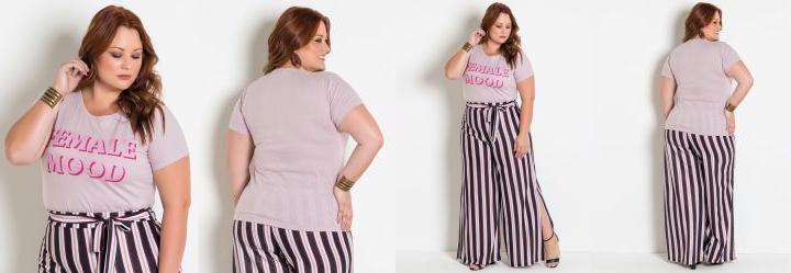 9d37710cc 2.1122541427612305 T-Shirt Rosa Plus Size com Estampa Feminista