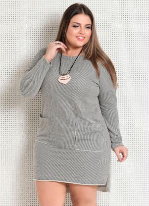 a216493483 produto Quintess Outlet - Vestido Listrado Mullet Plus Size Quintess