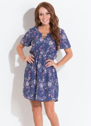 2f4ce22d14 produto Quintess Outlet - Vestido Quintess Floral Azul Detalhe no Decote