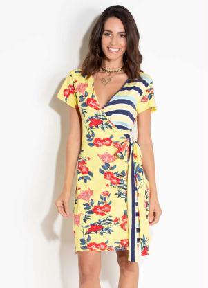 d593ab7aa0 produto Vestido Quintess Floral e Listras Manga Curta