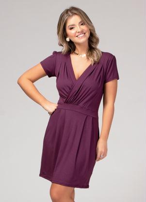 25d72a6a85ac produto Quintess - Vestido Transpassado Roxo Plus Size Quintess