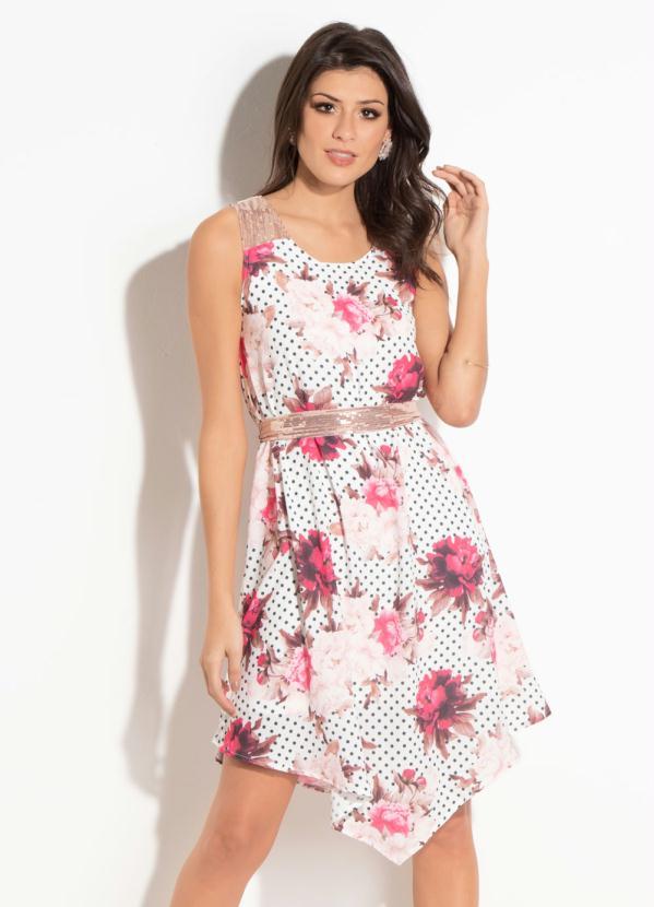 4037b4d9b941 Quintess - Vestido Quintess Clássico Floral Poá com Faixa - Quintess