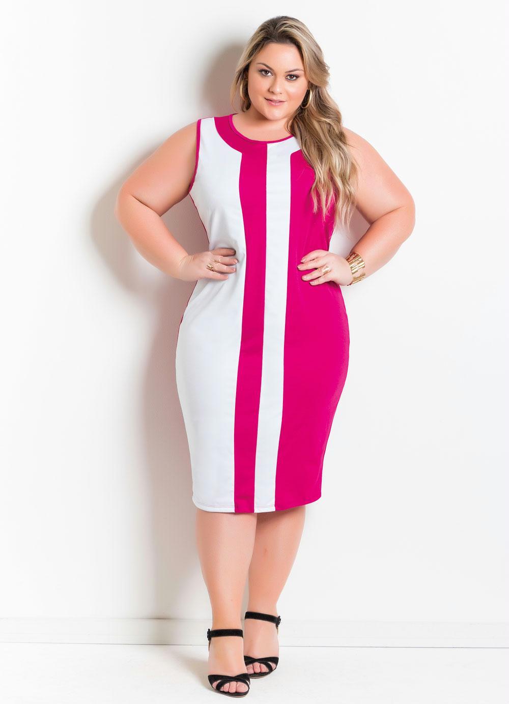 Vestido Bicolor Plus Size Púrpura e Branco - Marguerite cf366b4b538