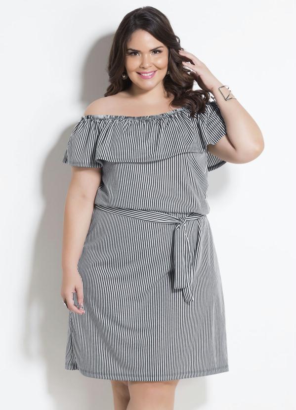 ecace7ffdcf451 Marguerite - Vestido Ciganinha Listrado com Faixa Plus Size - Marguerite