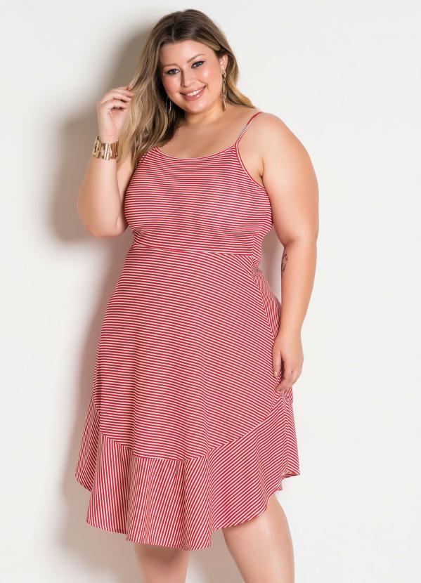 823ac7ba4ac615 Marguerite - Vestido de Alças Listrado Vermelho Plus Size