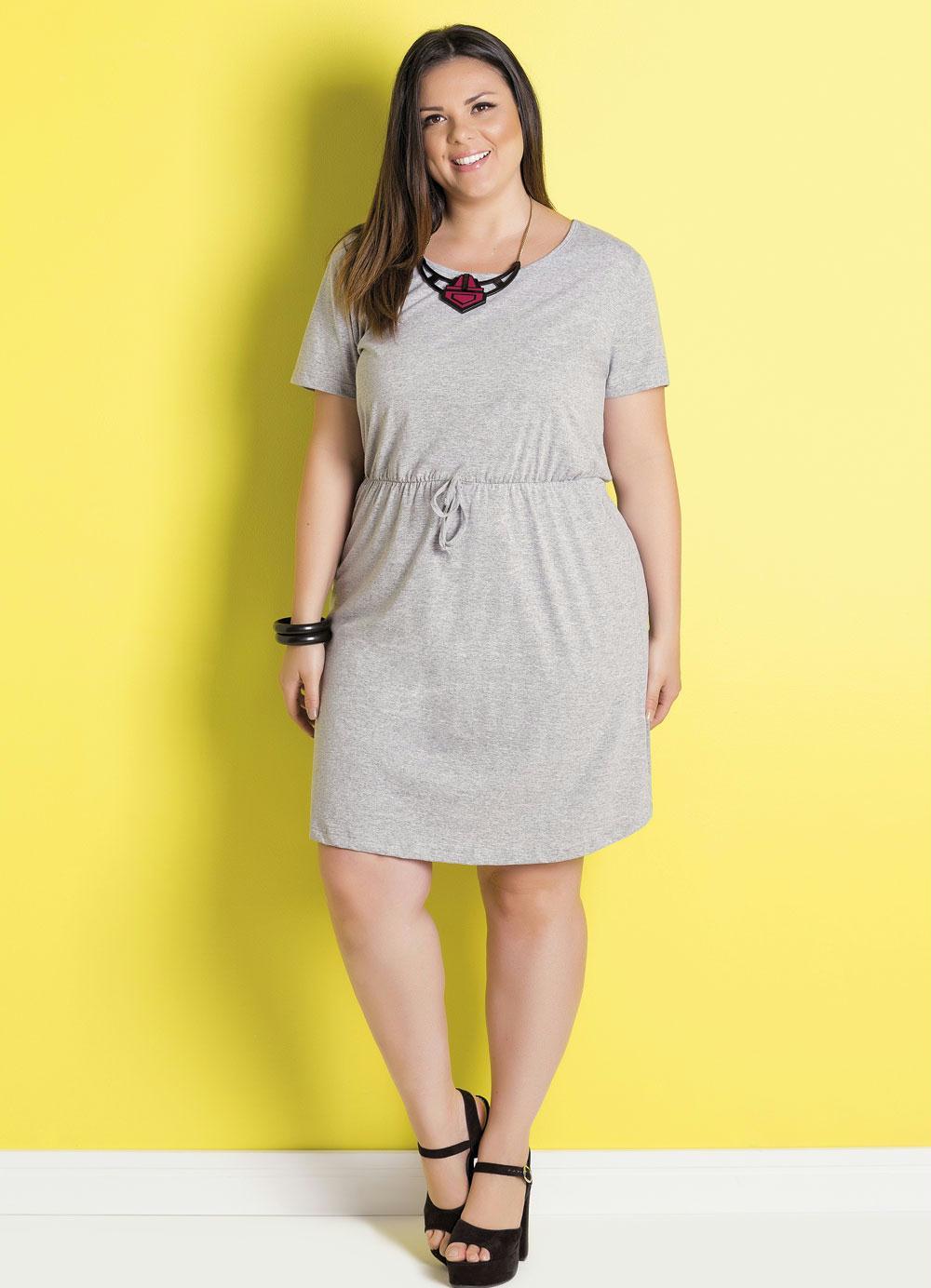 6e1ac0cf0 Vestido Mescla de Algodão Plus Size Marguerite - Marguerite