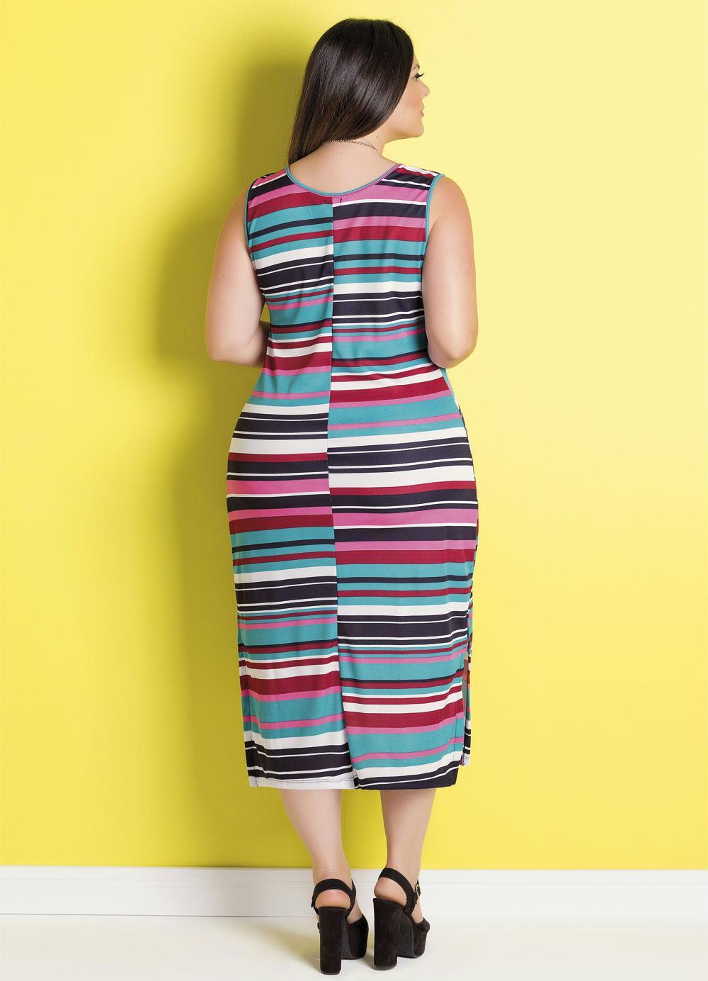 Vestido Midi Listras Coloridas Plus Size Marguerite