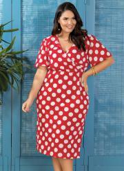 447a2a1ed Vestido Transpassado Plus Size Poá Marguerite