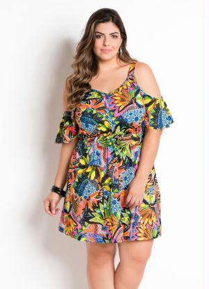 Vestido Ciganinha Estampa Floral Plus Size