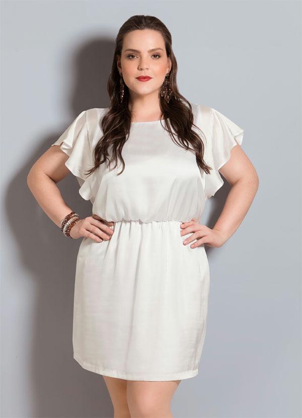 02cc6bad54 Quintess - Vestido de Cetim Quintess Branco Plus Size - Quintess
